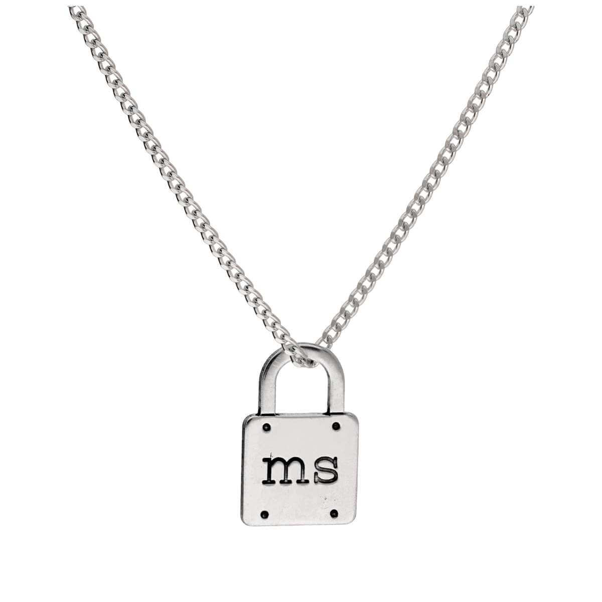Bespoke Sterling Silver Initials Padlock Necklace 16-28 Inches