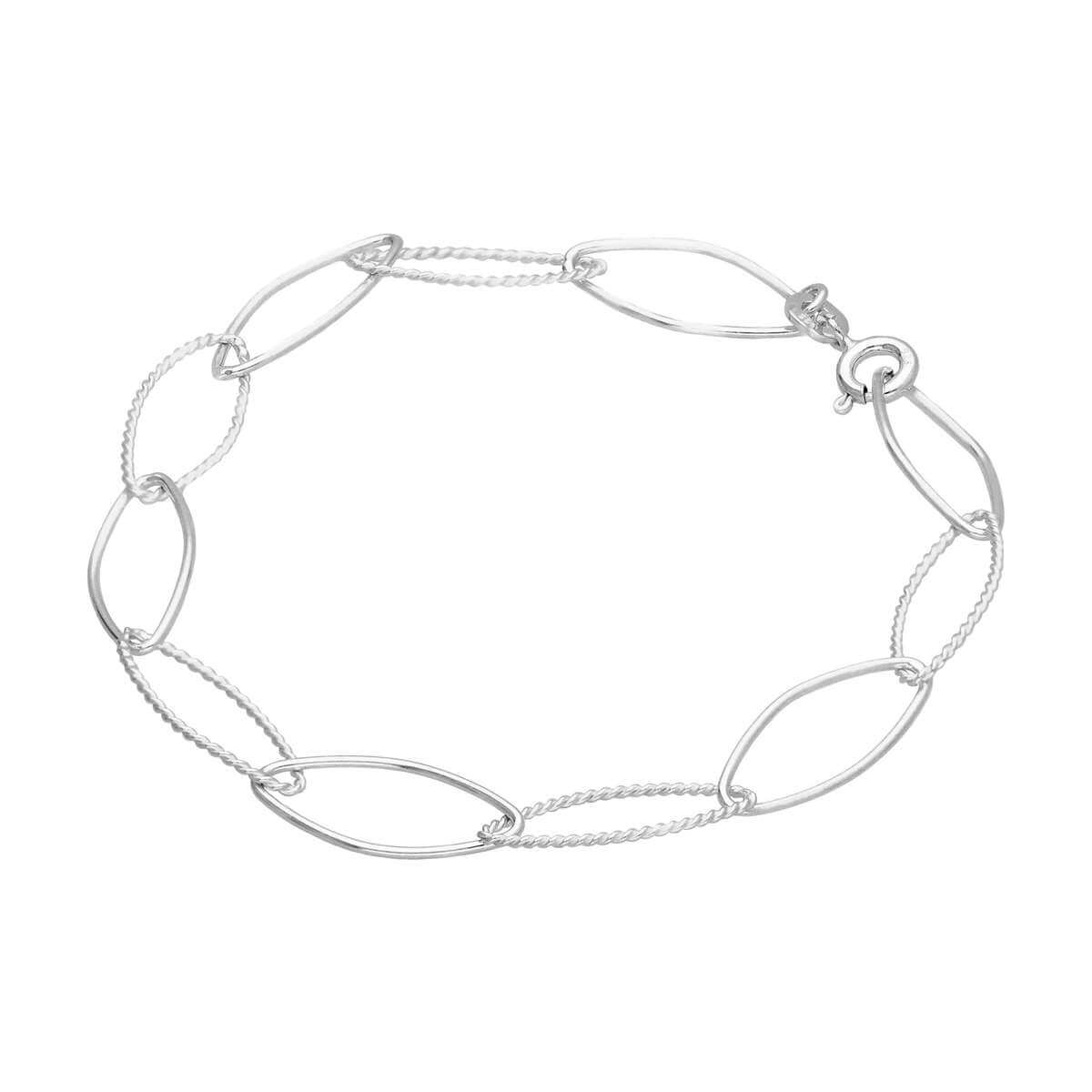 Sterling Silver Plain Twisted Oval Link Chain Bracelet
