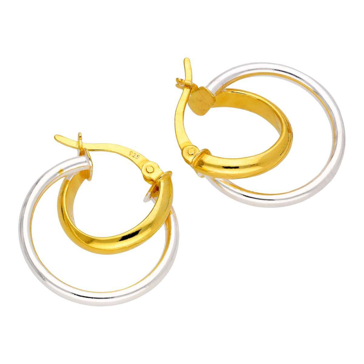 Gold Plated Sterling Silver Double Twisted Hoop Earrings