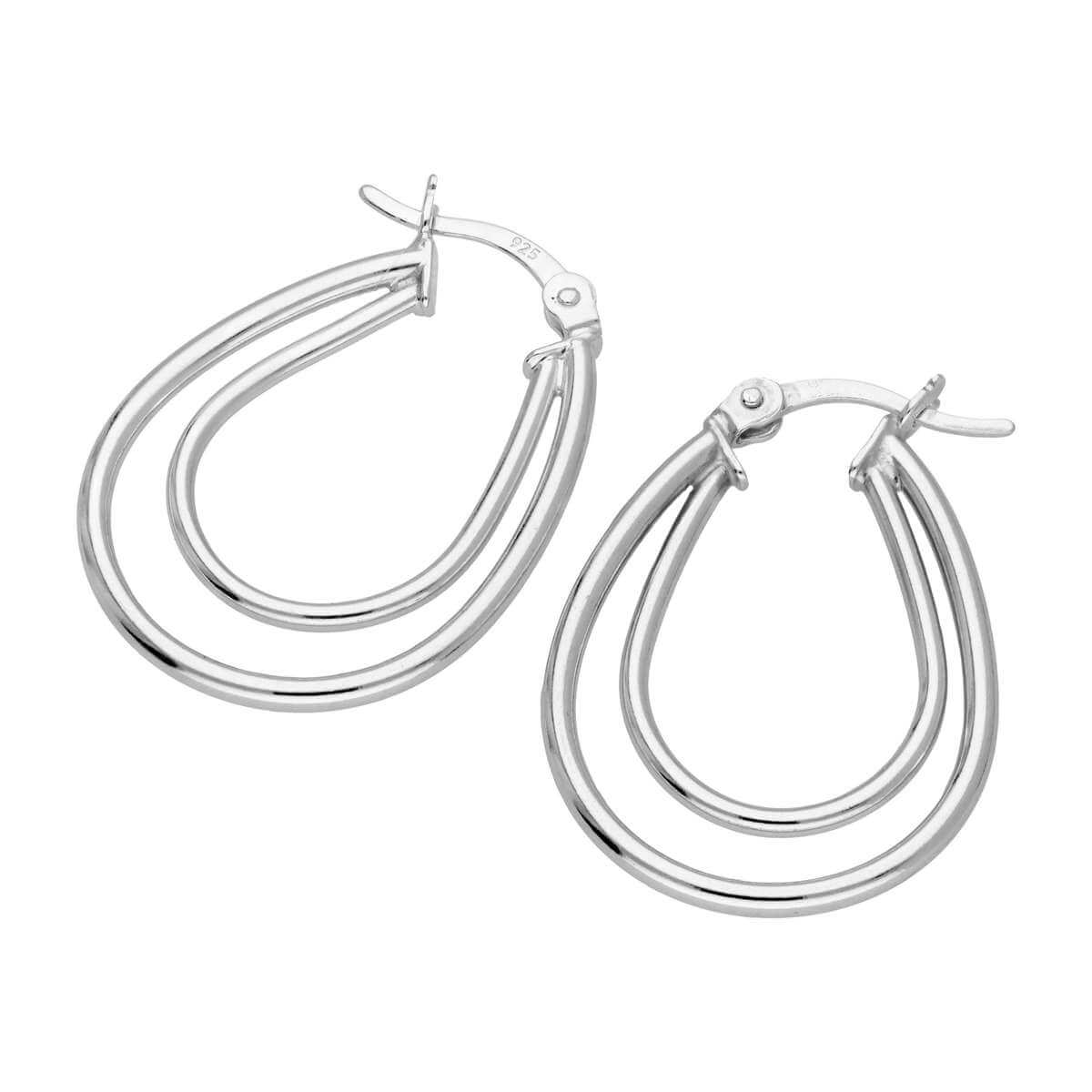 Sterling Silver Double Oval 18mm Modern Creole Hoop Earrings