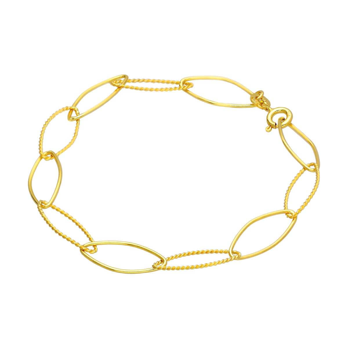 Gold Plated Sterling Silver Twisted Oval Link Chain Bracelet
