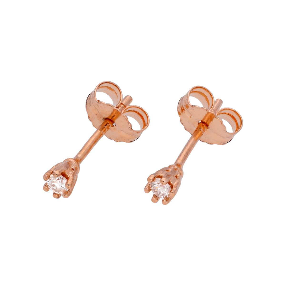 0.05ct Diamond 9ct Rose Gold 6 Prong Claw Set Stud Earrings