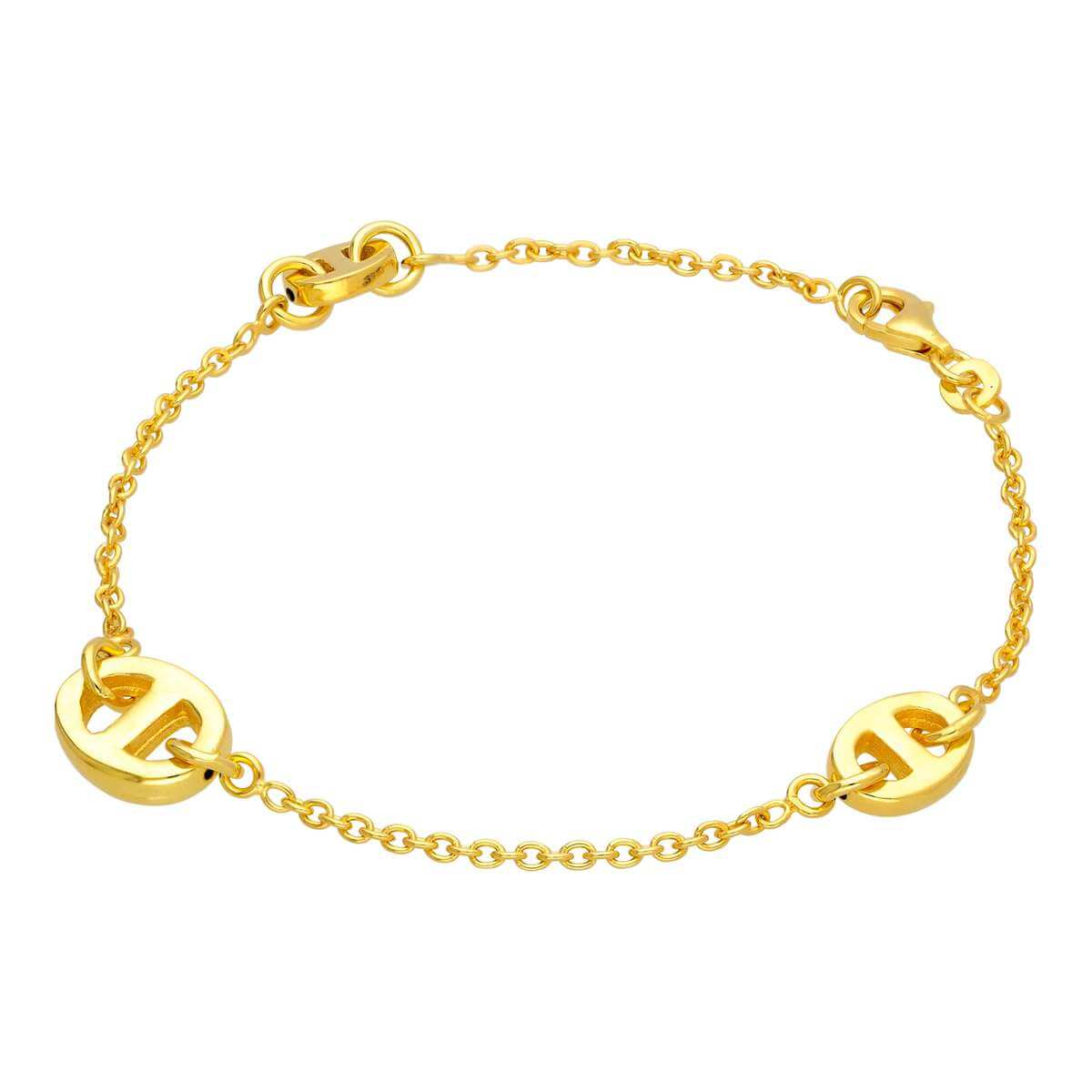 Gold Plated Sterling Silver Chunky Oval Link Bracelet 8 Inch