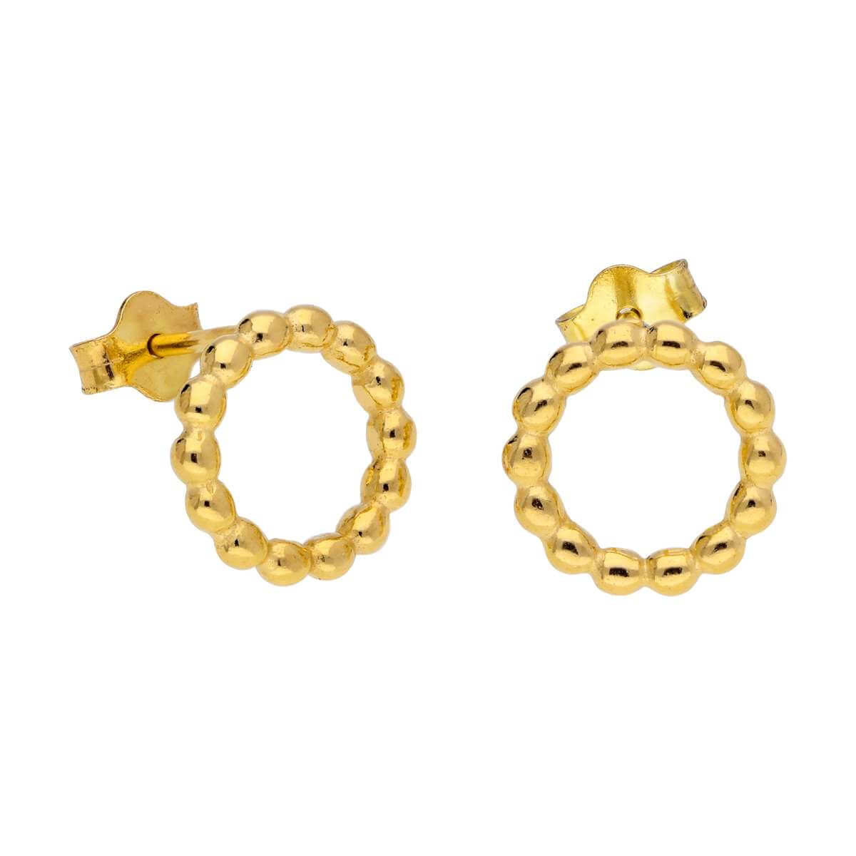 Gold Plated Sterling Silver Bobble Beaded Circle Stud Earrings