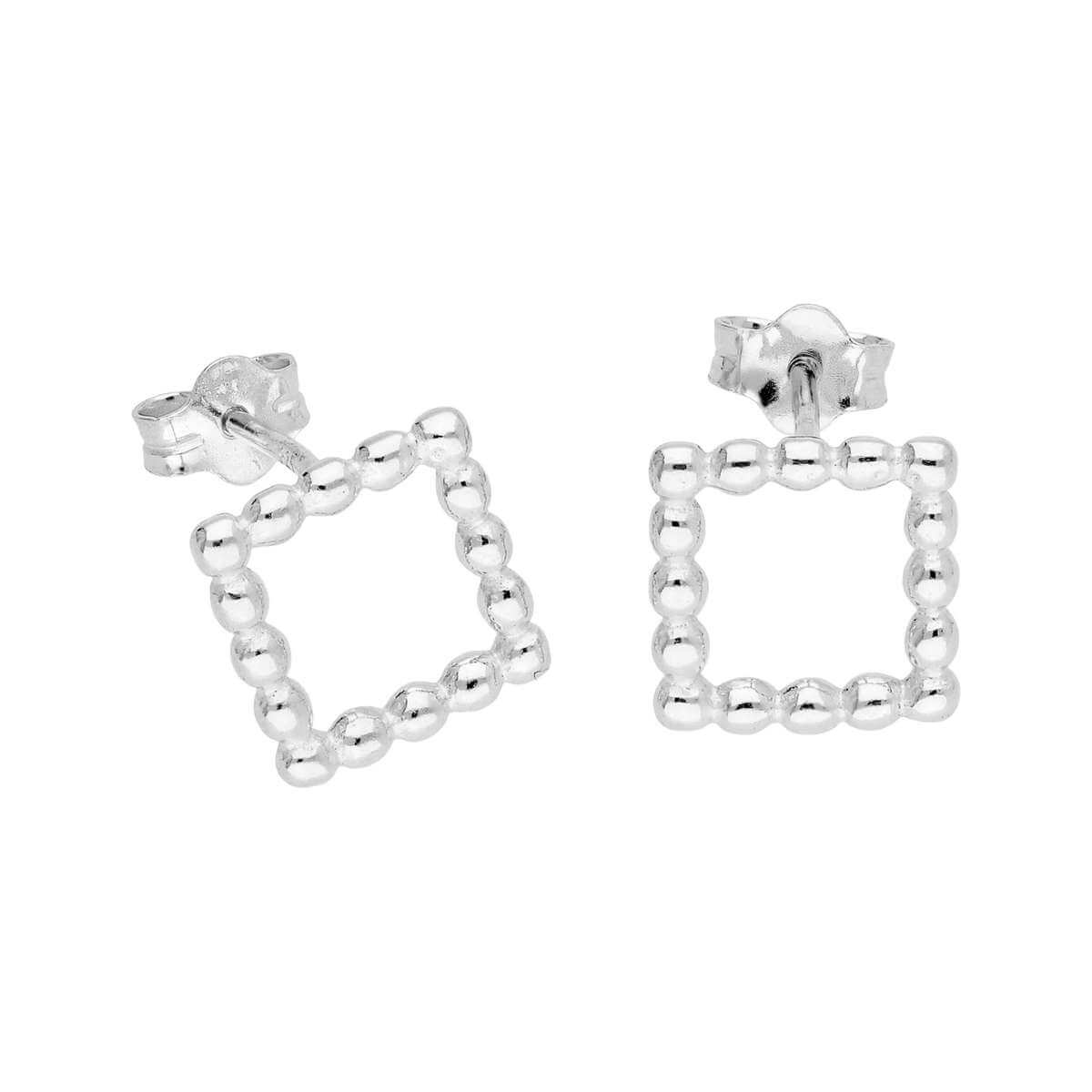 Sterling Silver Bobble Beaded Open Square Stud Earrings