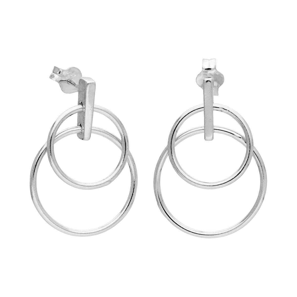 Sterling Silver Minimalist Double Circle Drop Stud Earrings
