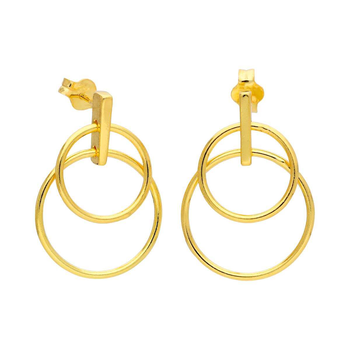 Gold Plated Sterling Silver Double Circle Stud Drop Earrings
