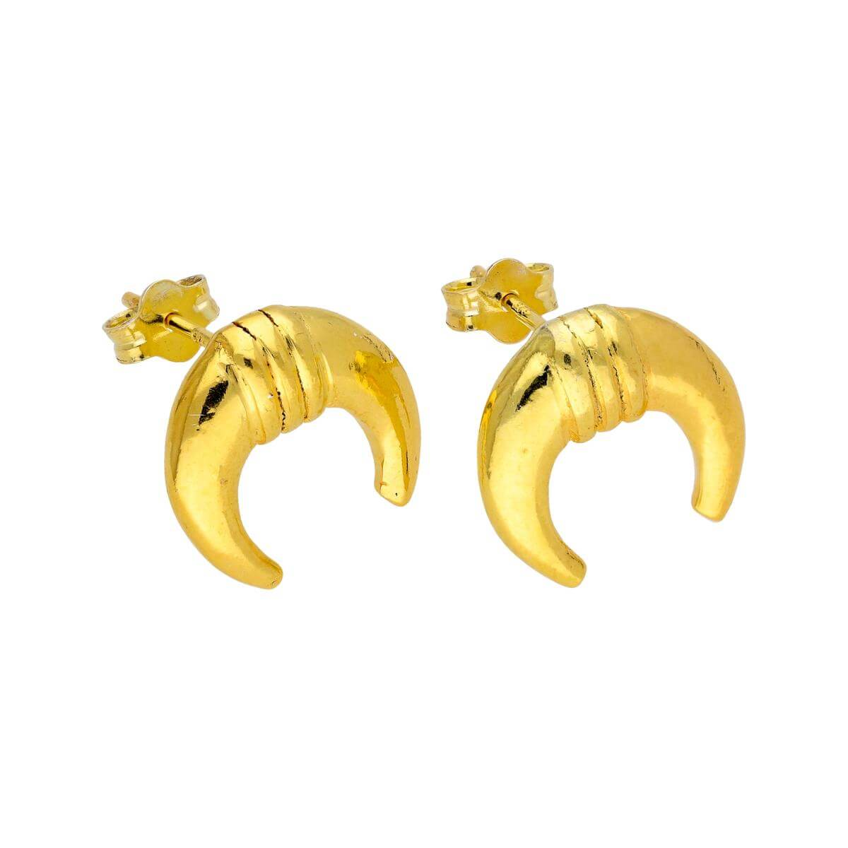 Gold Plated Sterling Silver Horn Line Stud Earrings
