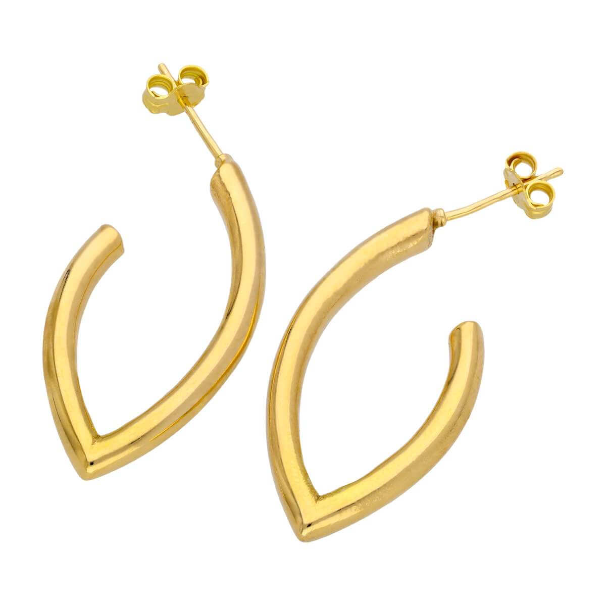 Gold Plated Sterling Silver Oval Open Hoop Stud Earrings