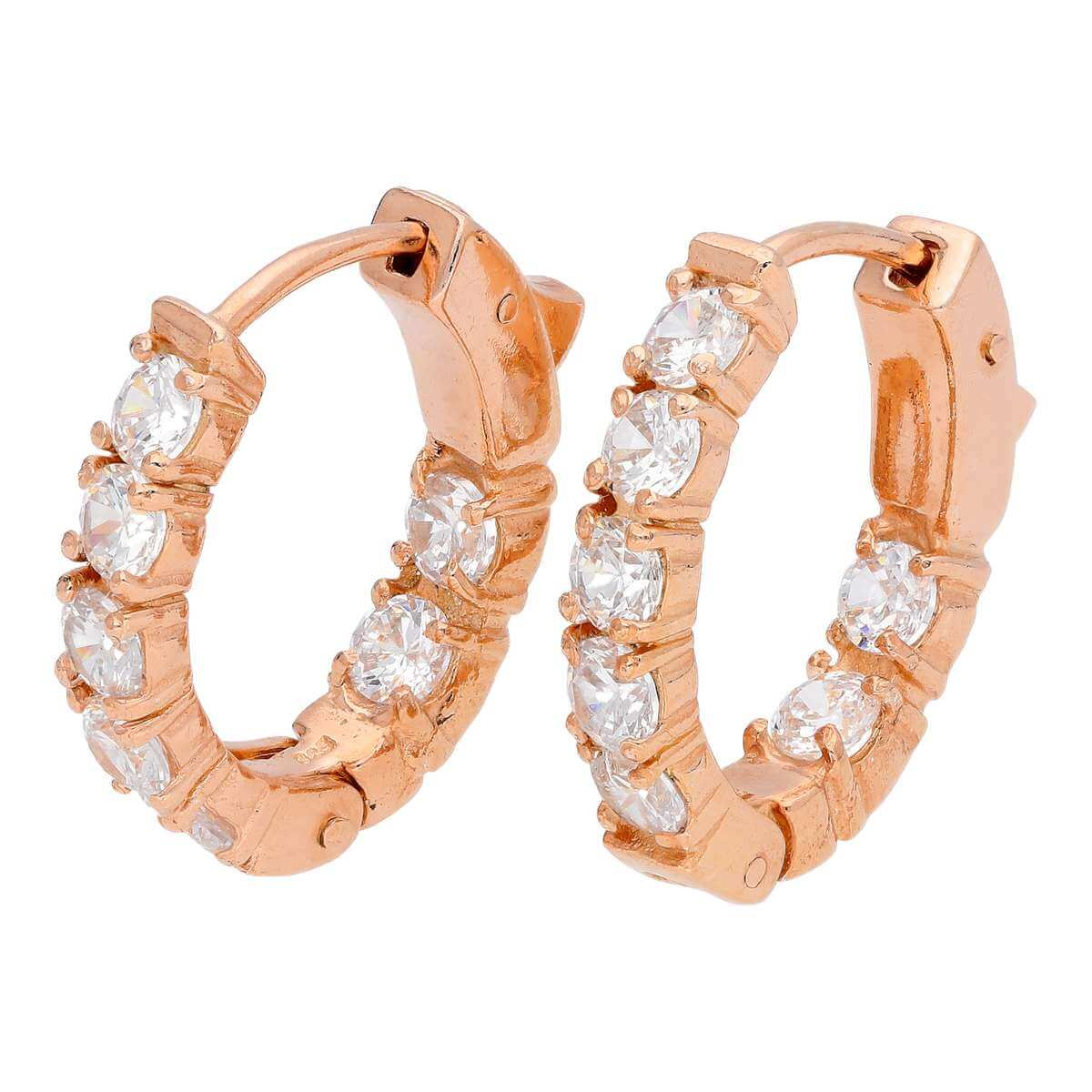 Rose Gold Plated Sterling Silver CZ Eternity Hoop Earrings