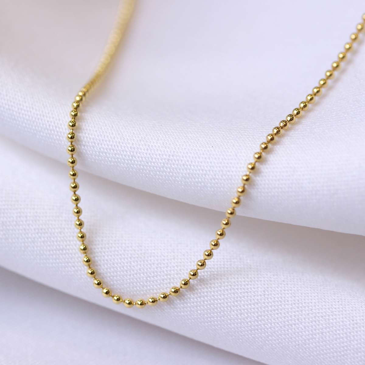 Gold Plated Sterling Silver 1mm Bead Chain 22 Inches