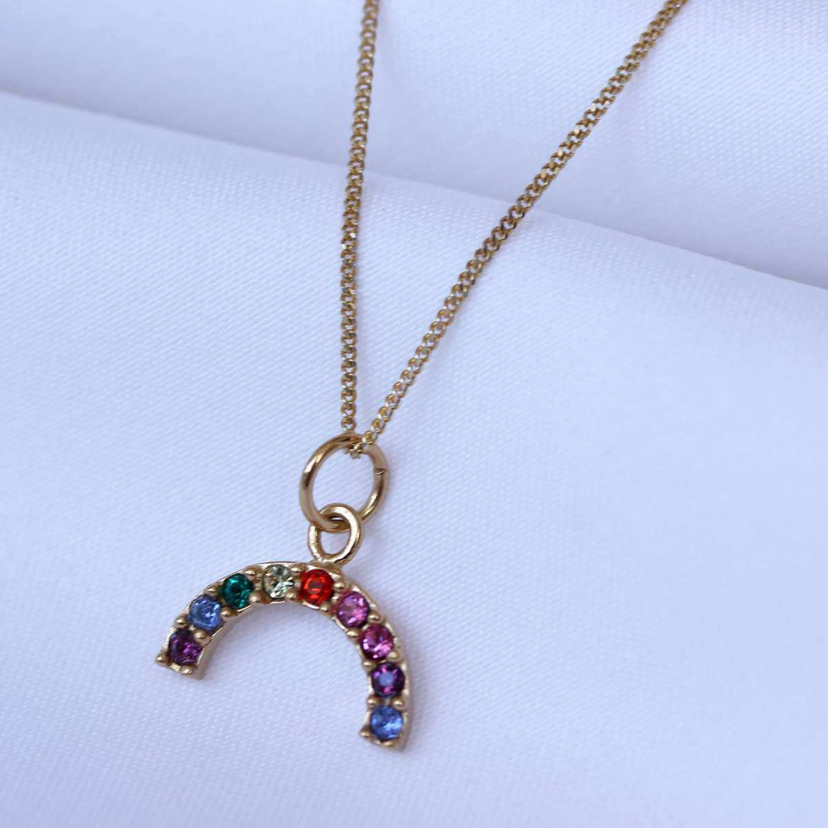 Gold Plated Sterling Silver CZ Rainbow Necklace 14 - 32 Inches