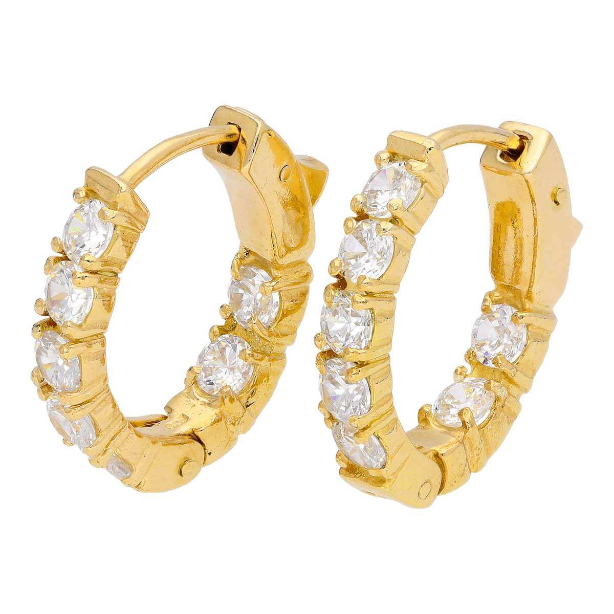 Gold Plated Sterling Silver CZ Eternity 18mm Huggie Hoop Earrings