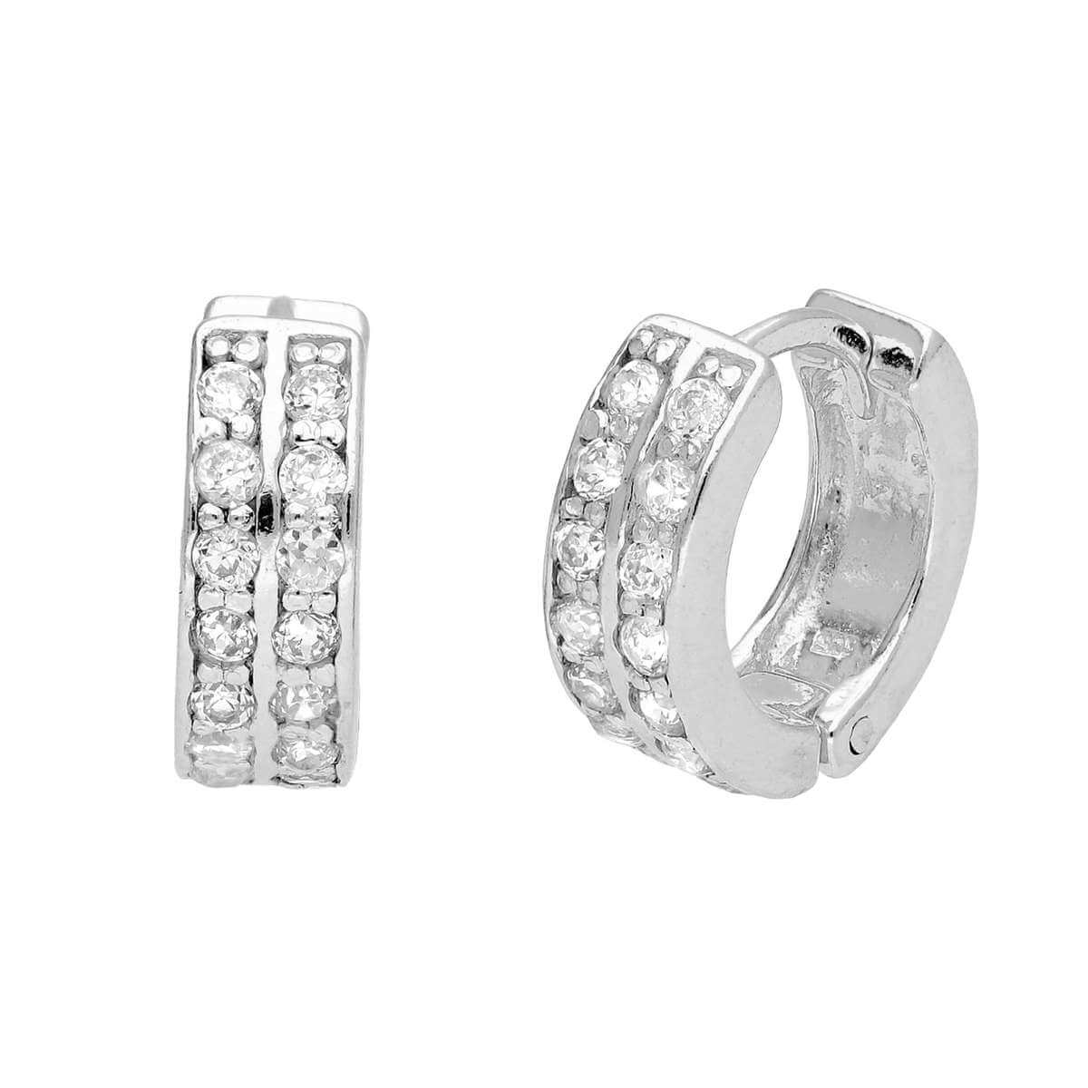 Small Sterling Silver CZ Double Channel Huggie Hoop Earrings