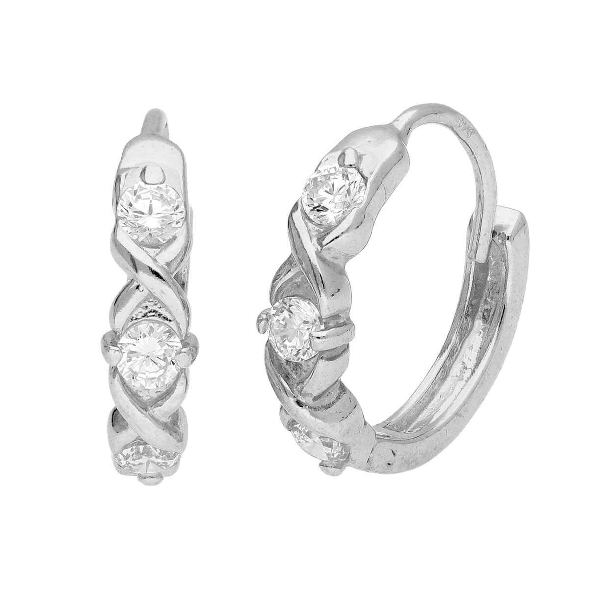 Sterling Silver CZ Triple Interlocking Huggie Hoop Earrings