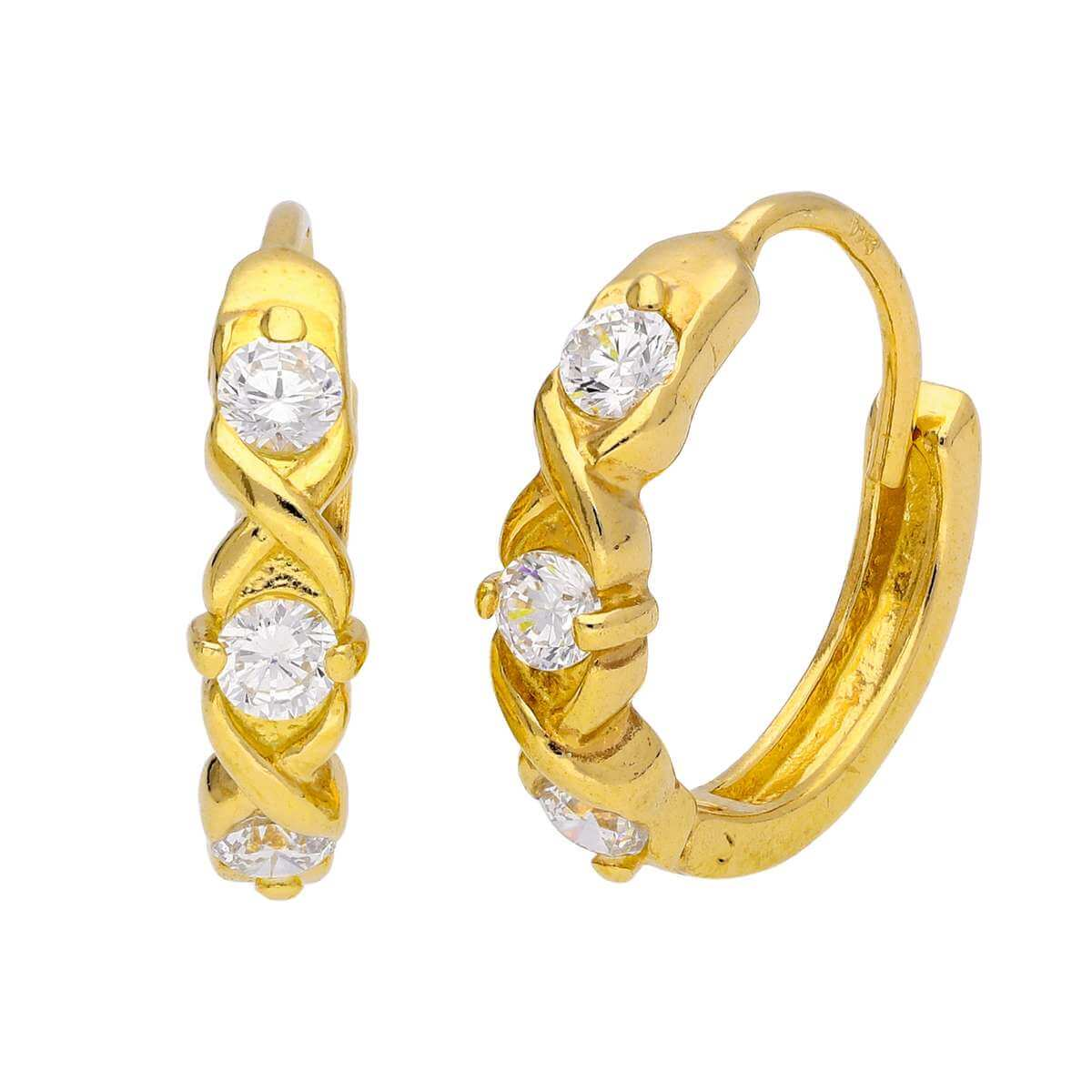 Gold Plated Sterling Silver CZ Triple Huggie Hoop Earrings