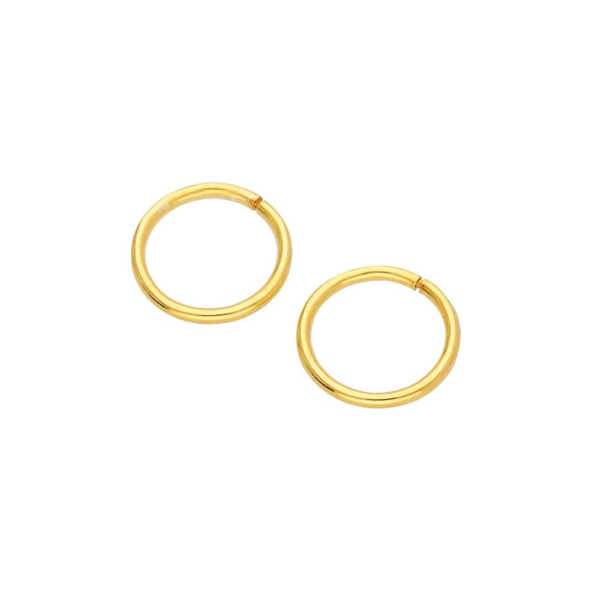 Gold Plated Sterling Silver 8mm Sleeper Hoop Earrings