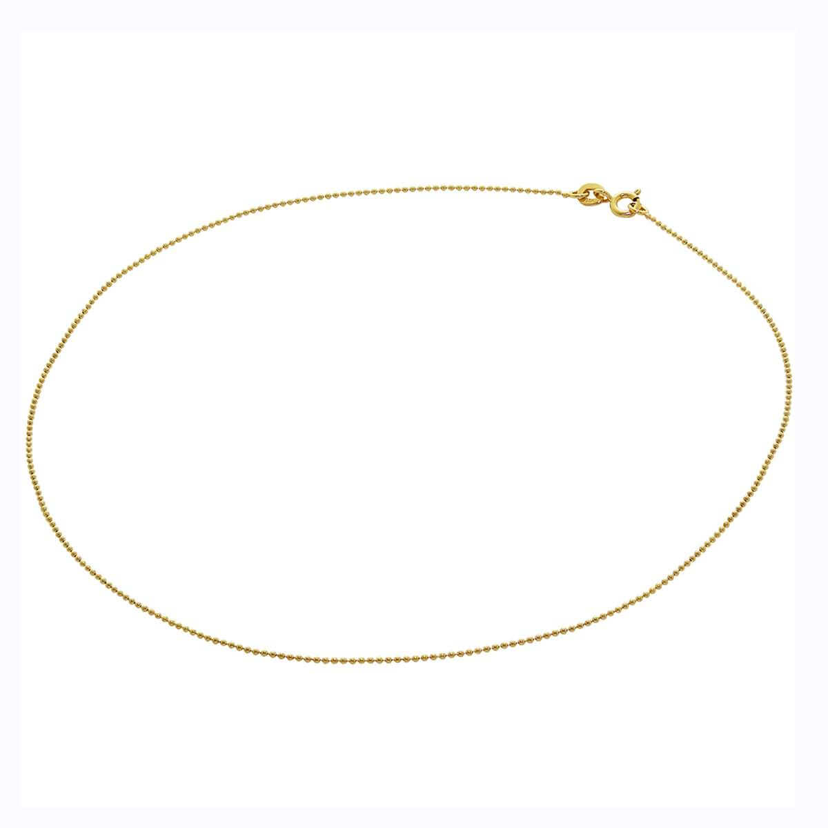 Gold Plated Sterling Silver 1mm Bead Chain 14 Inches