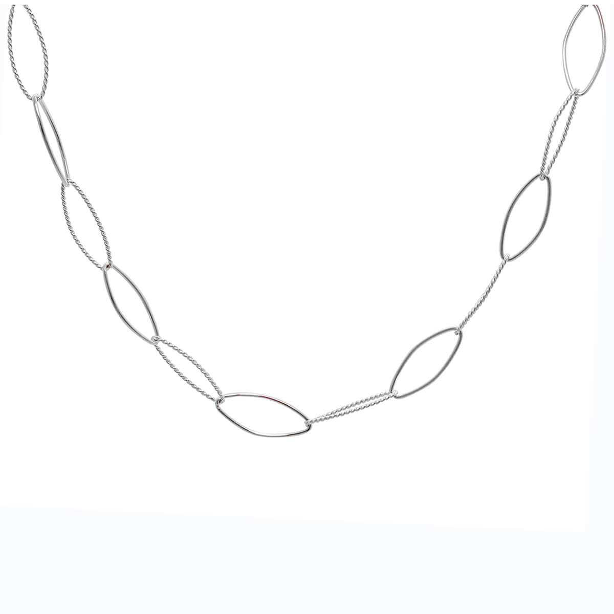 Sterling Silver Twisted Oval Link Chain Necklace 14+2 Inches