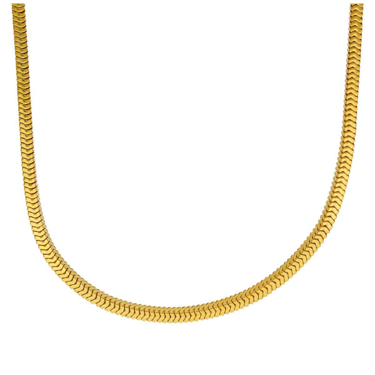 Gold Plated Sterling Silver Square 2mm Snake Necklace 16-18 Inches