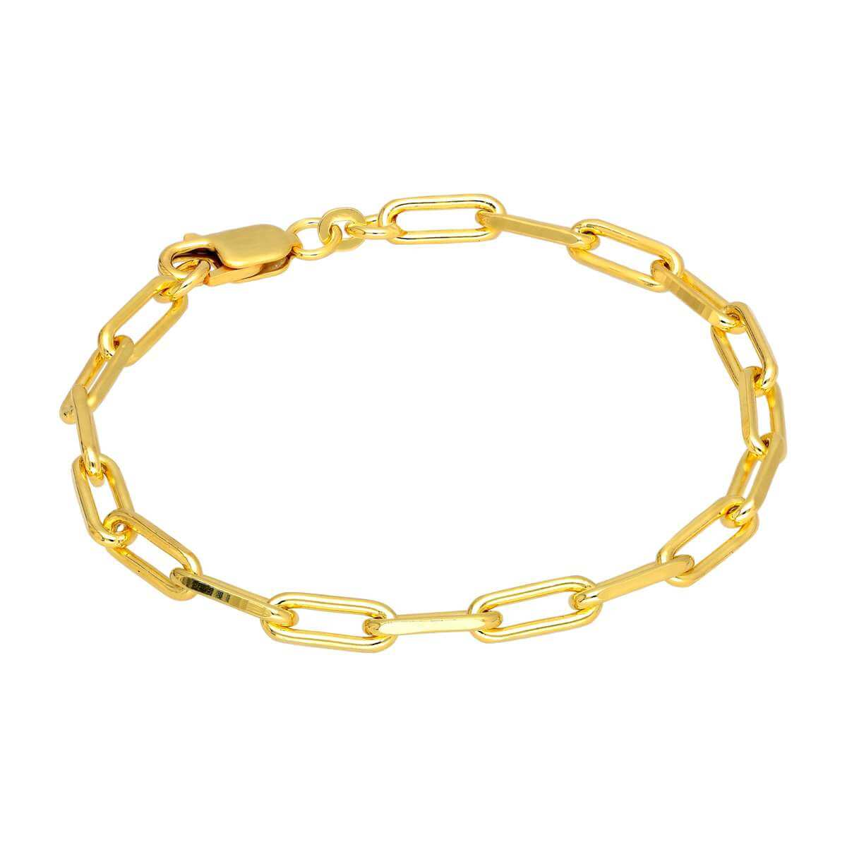 Gold Plated Sterling Silver Long Link Bracelet 7 Inches