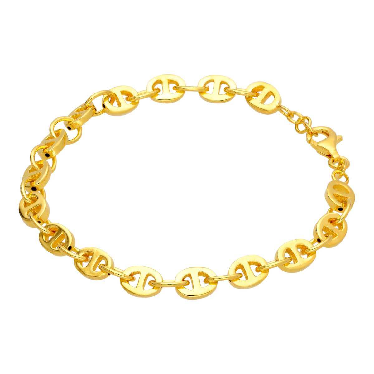 Yellow Gold Plated Sterling Silver Large Chunky Link Chain Bracelet