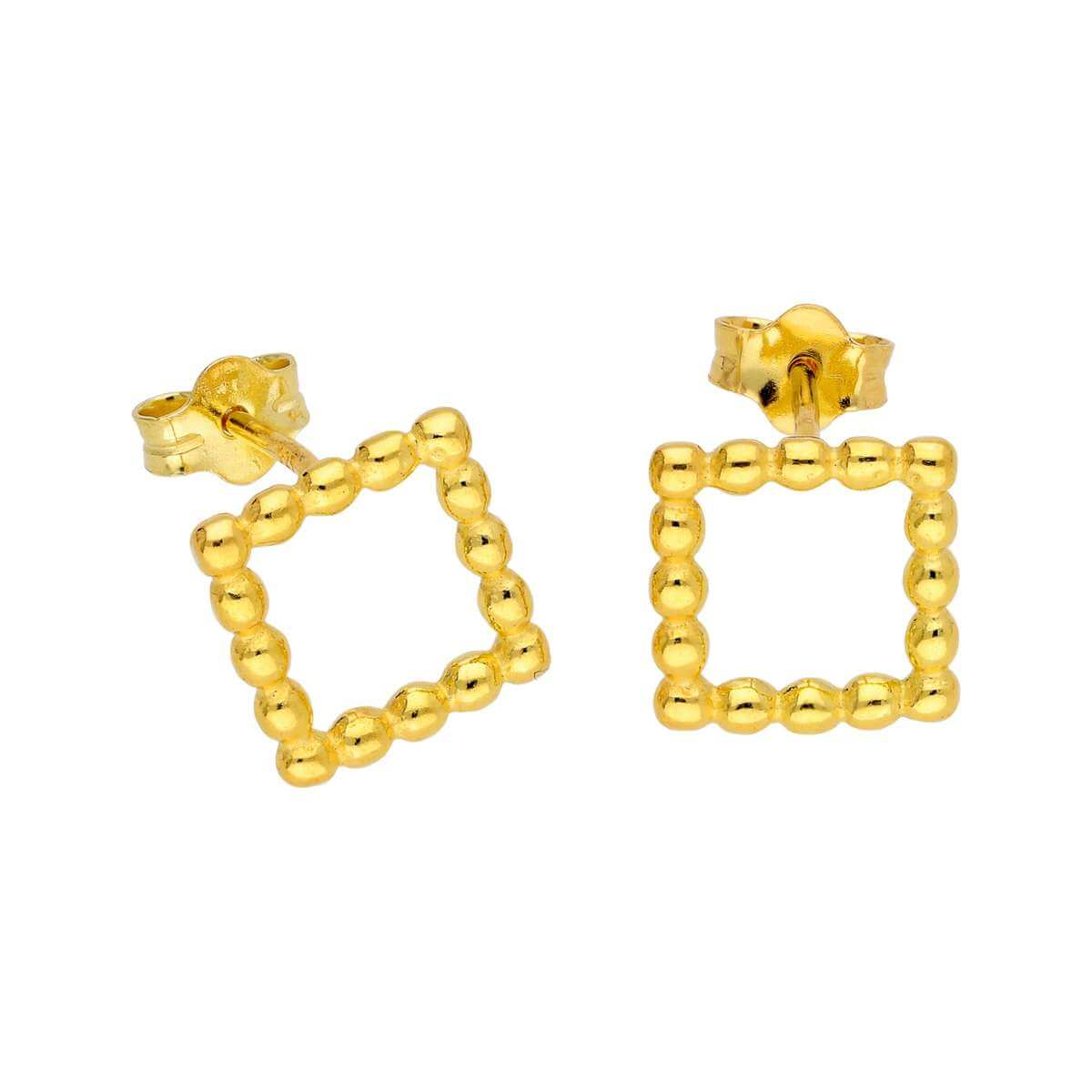 Gold Plated Sterling Silver Open Beaded Square Stud Earrings