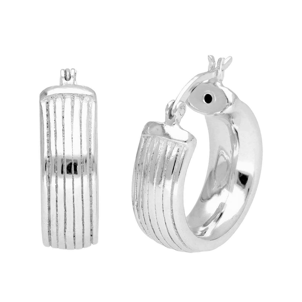 Sterling Silver Chunky Hollow Lined 20mm Hoop Earrings