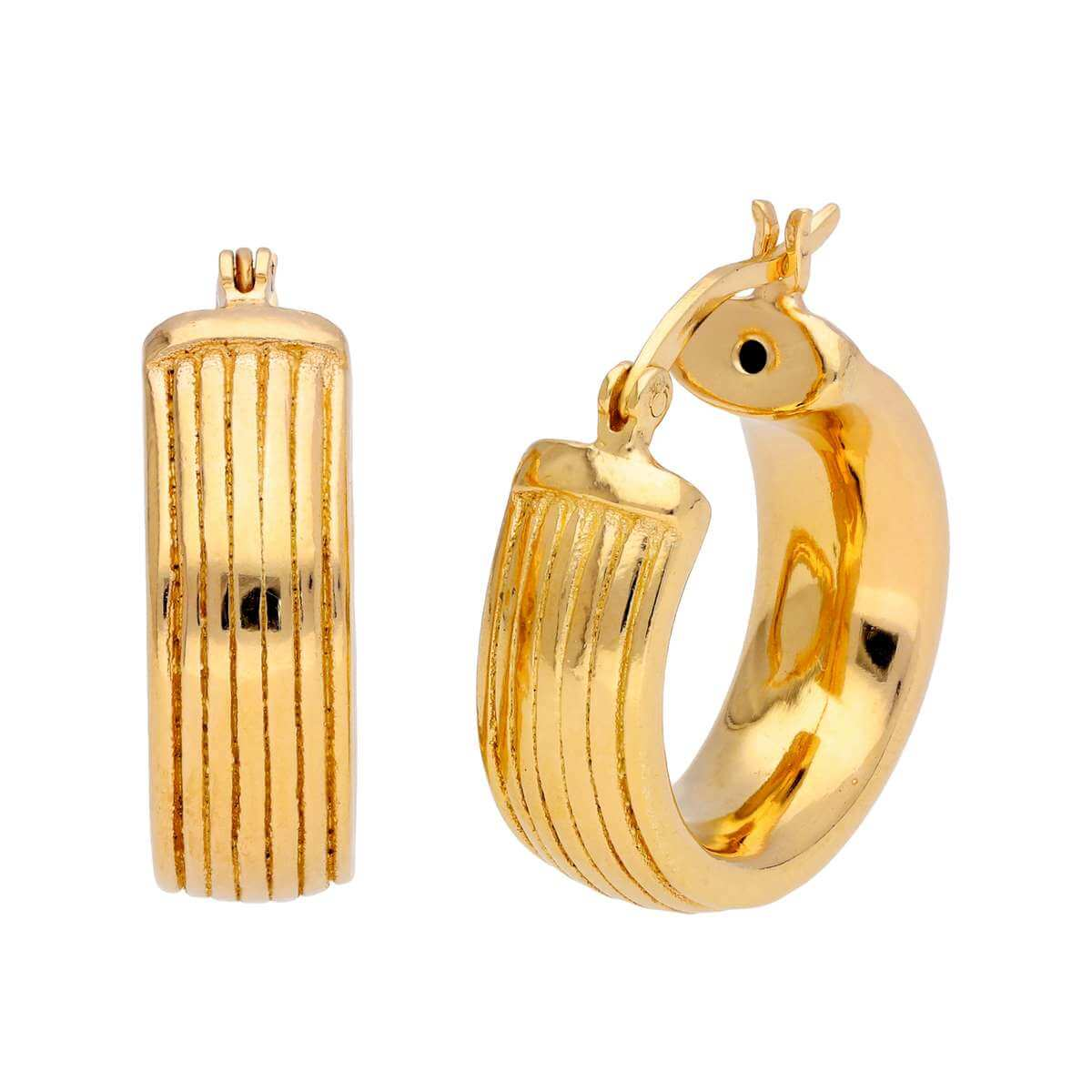 Gold Plated Sterling Silver Chunky Lined 20mm Hoop Earrings