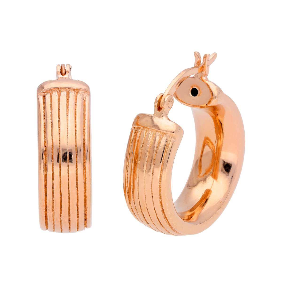 Rose Gold Plated Sterling Silver Chunky Lined 20mm Hoop Earrings