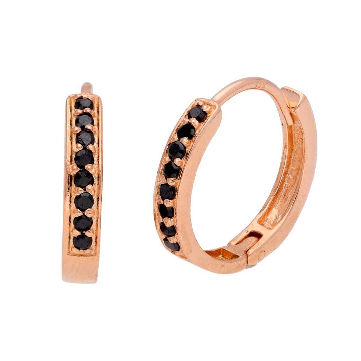 Rose Gold Plated Sterling Silver Black CZ Huggie Earrings