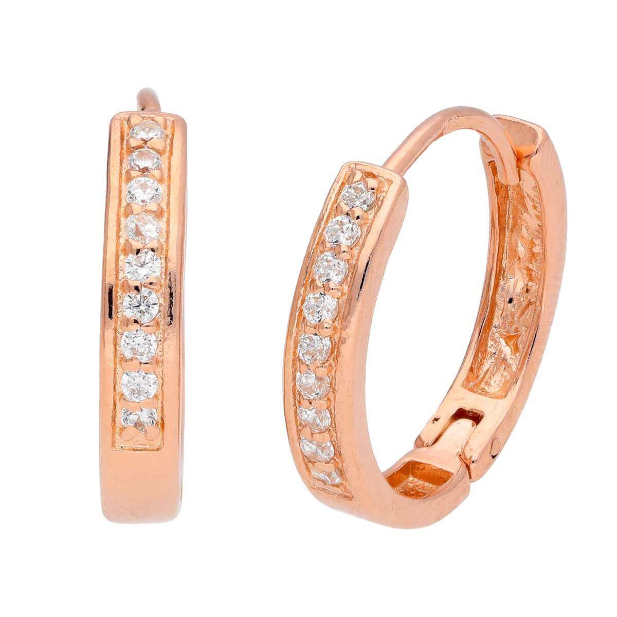 Rose Gold Plated Sterling Silver CZ Pave 19mm Hoop Earrings