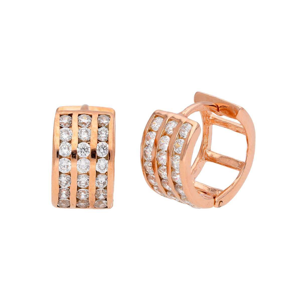Rose Gold Plated Sterling Silver CZ 13mm Huggy Hoop Earrings