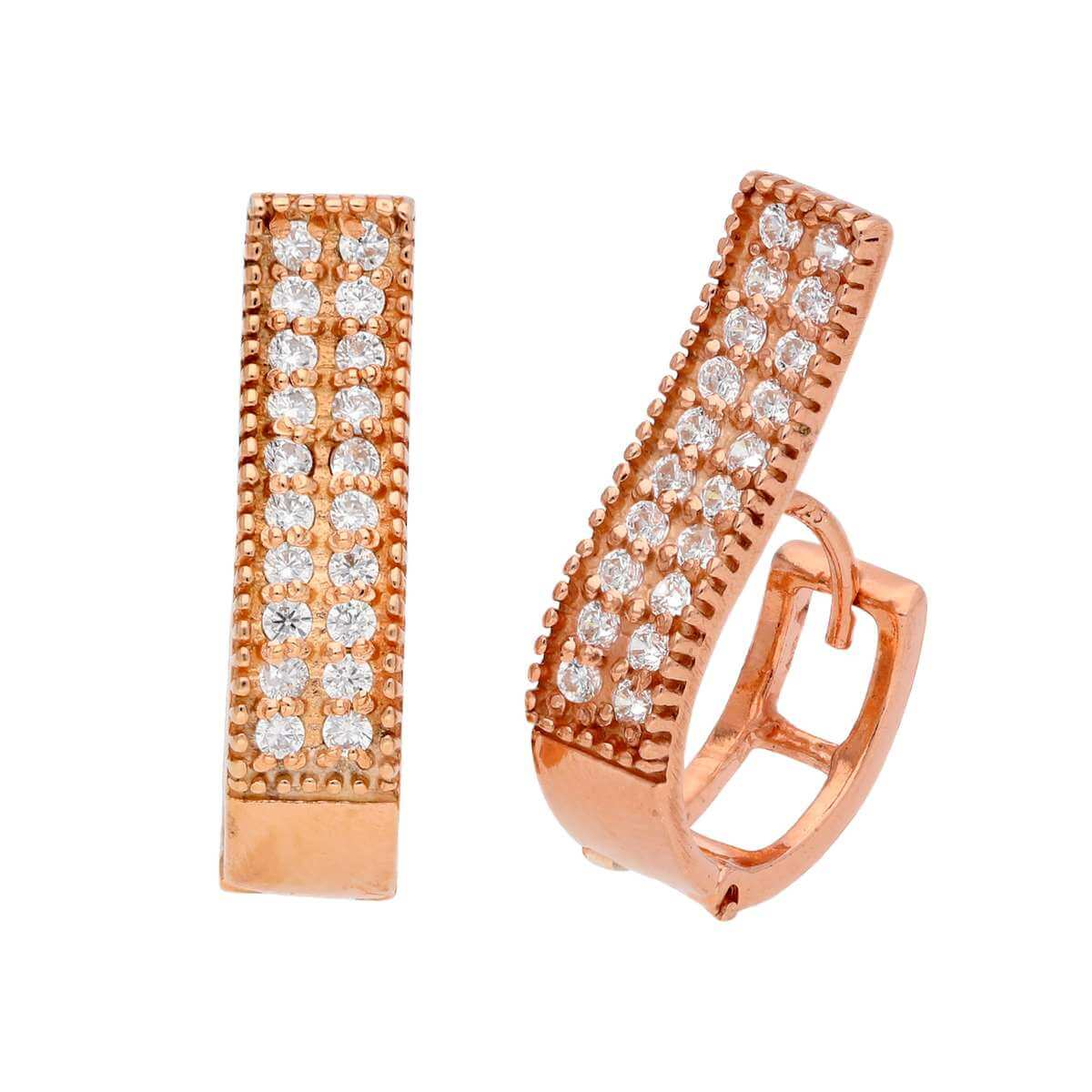 Rose Gold Plated Sterling Silver CZ Dress Huggie Hoop Earrings