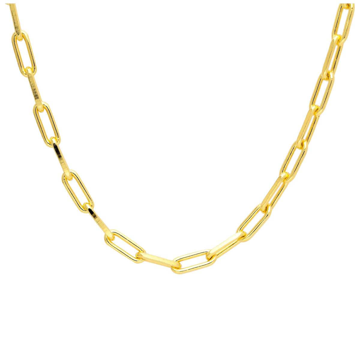 Gold Plated Sterling Silver Long Link Choker Necklace 14-16