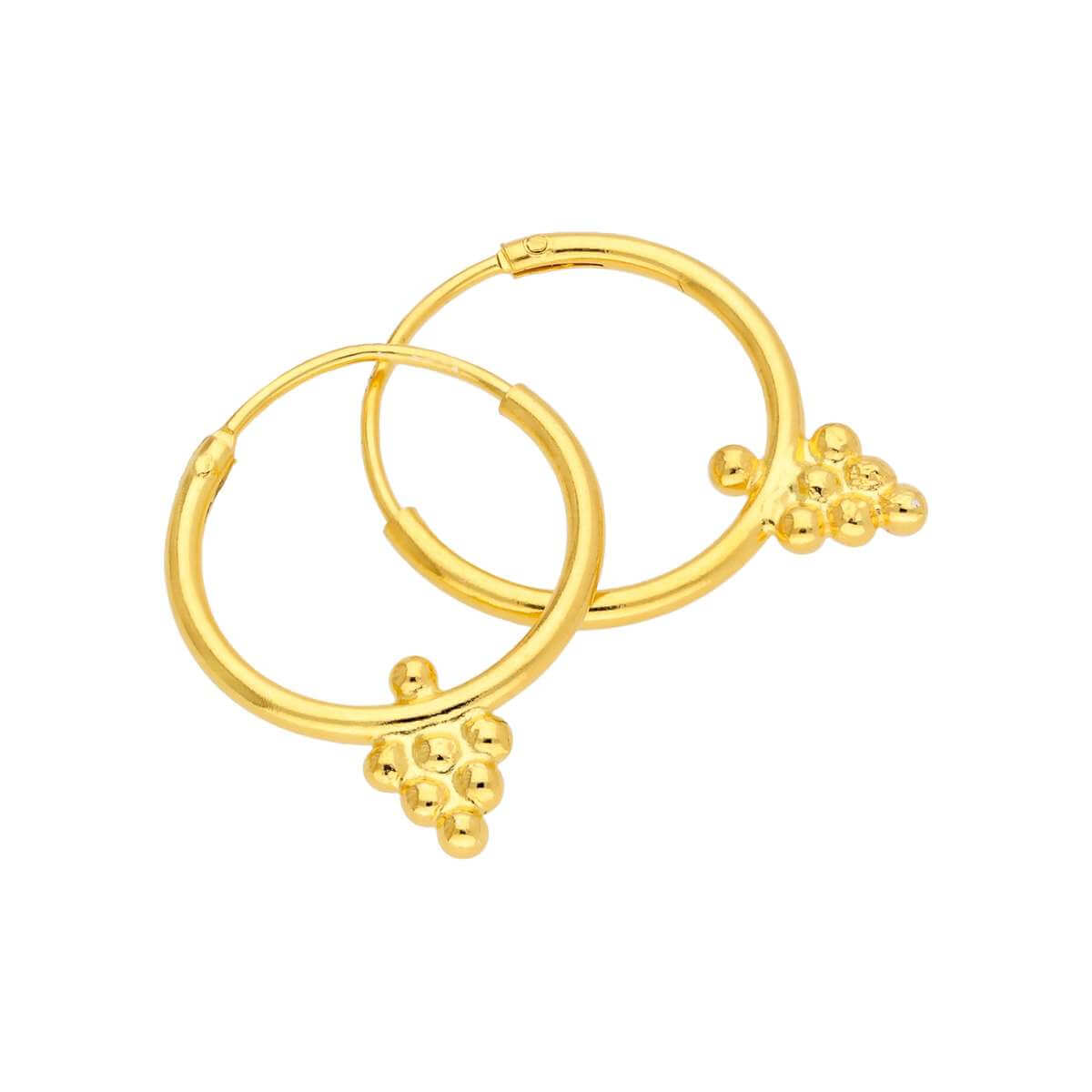 Gold Plated Sterling Silver Bead Diamond 14mm Hoop Earrings
