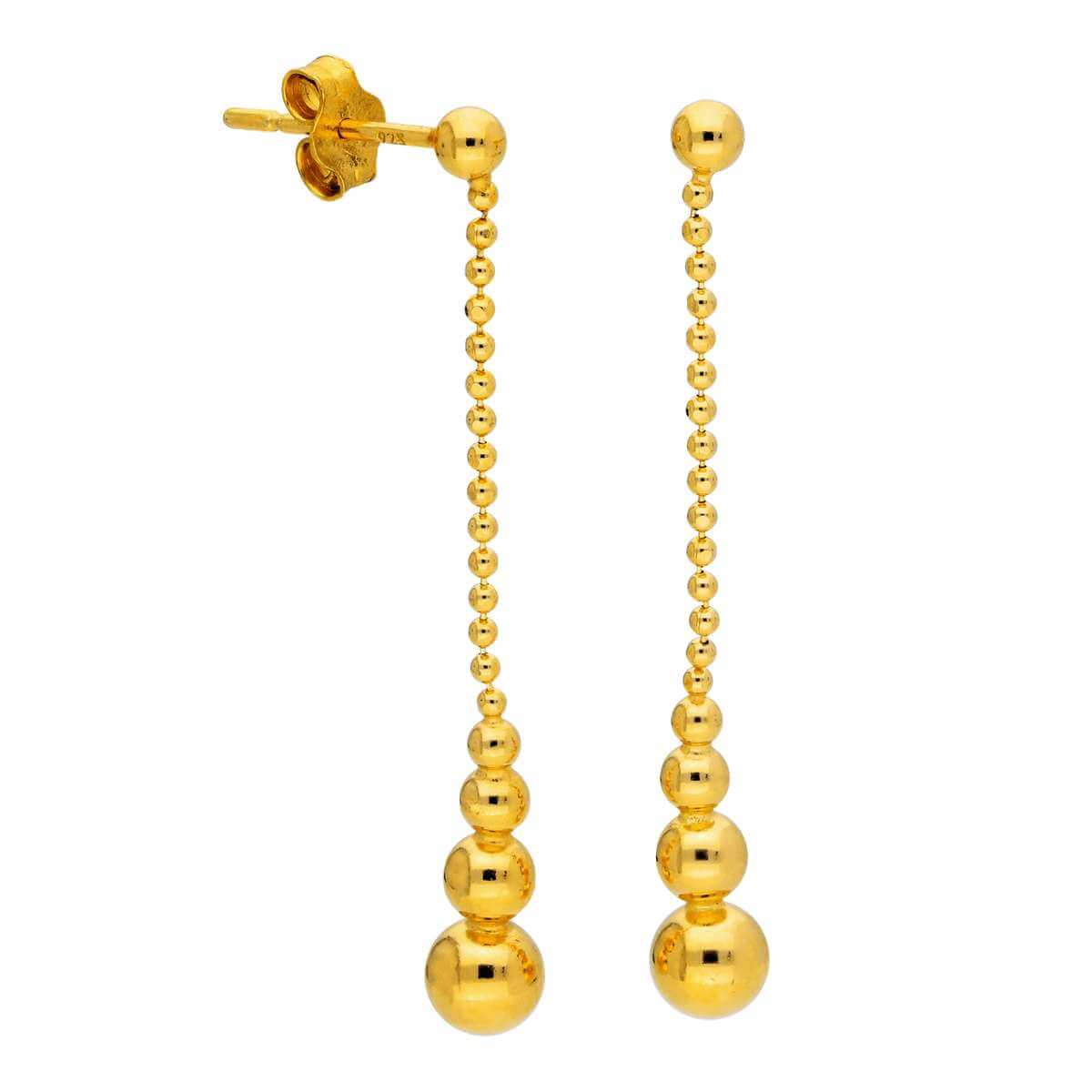 Gold Plated Sterling Silver Beaded Ball Drop Stud Earrings
