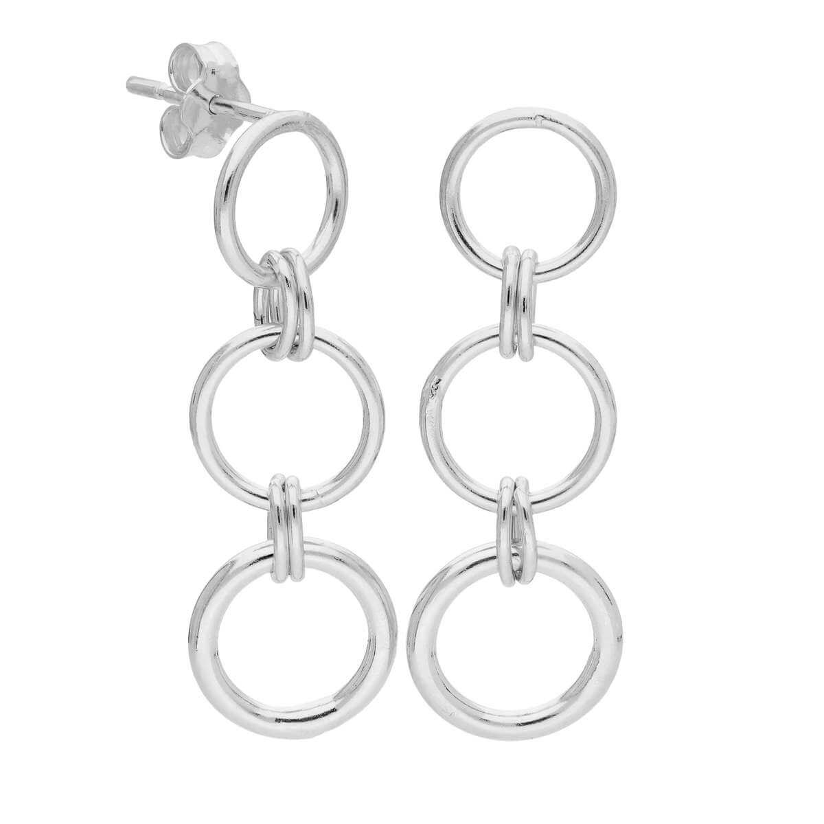 Sterling Silver Triple Round Link Chain Drop Stud Earrings