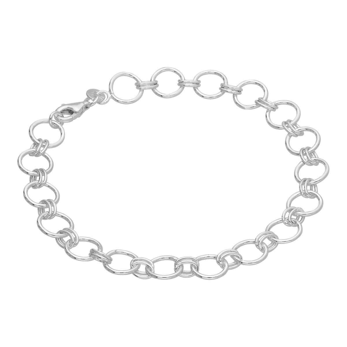 Sterling Silver Round Link Chain Bracelet 7 Inches