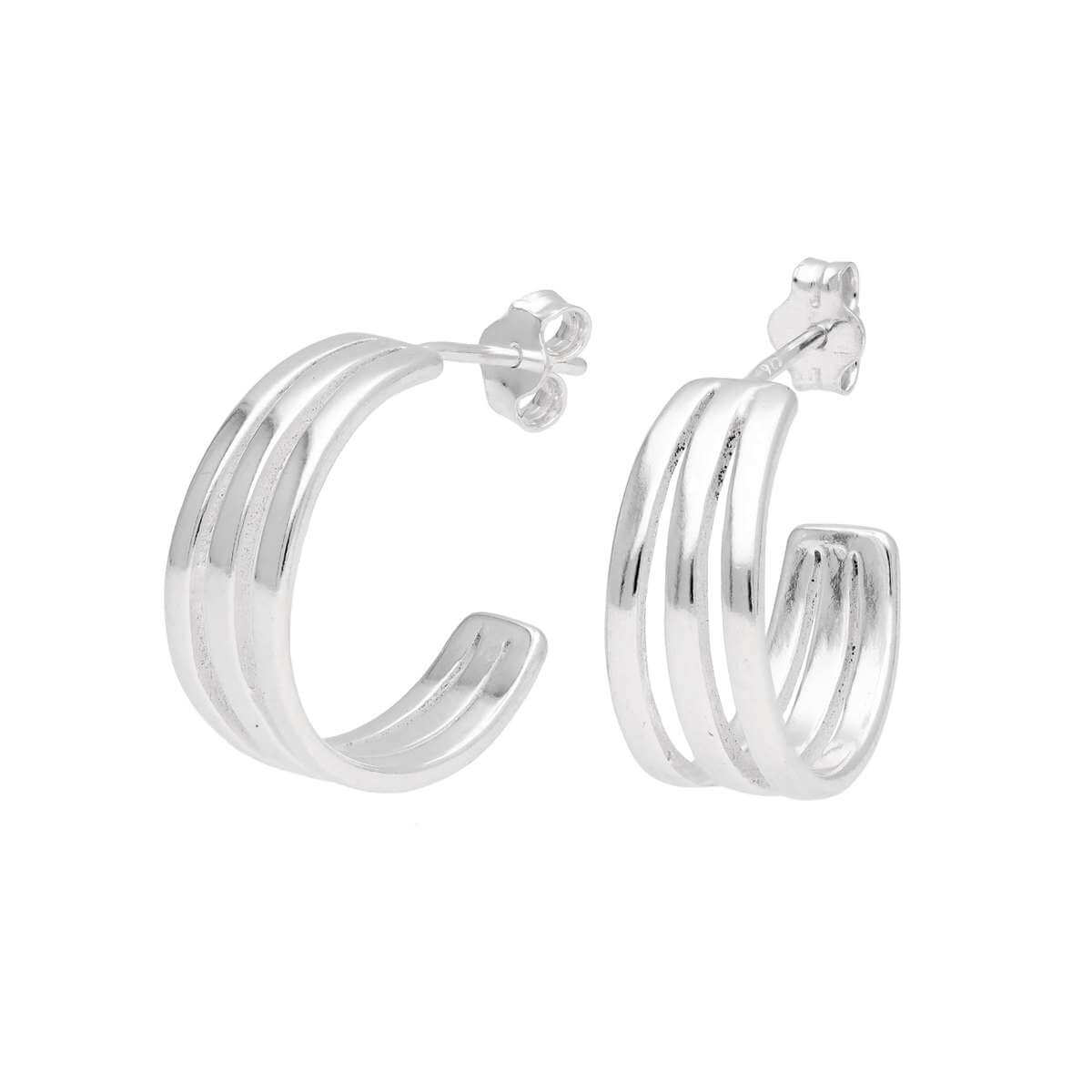 Sterling Silver Triple Line Open Hoop Stud Earrings