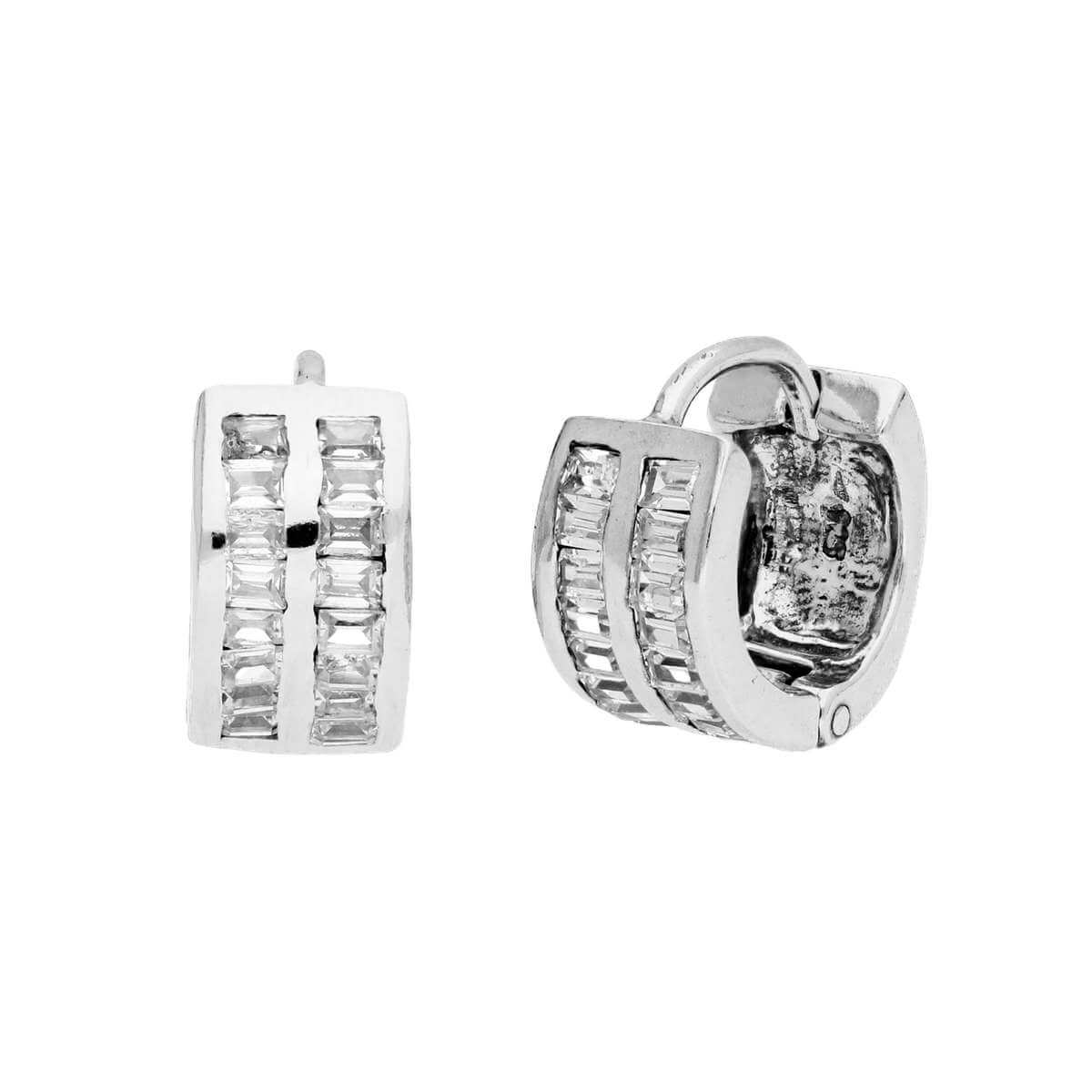 Sterling Silver & Double Set CZ 13mm Huggie Hoop Earrings