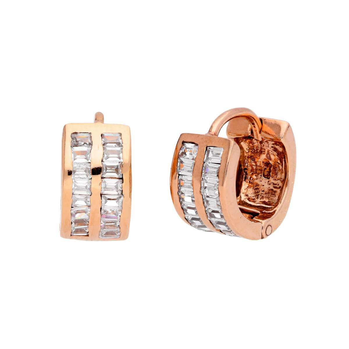 Rose Gold Plated Sterling Silver CZ Set 13mm Huggie Earrings