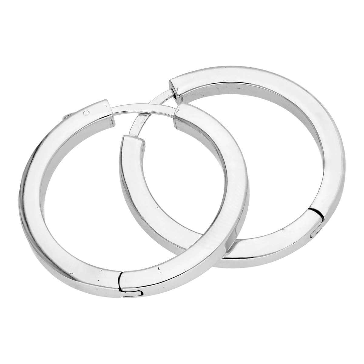 Sterling Silver Square Tube Push Button 30mm Hoop Earrings