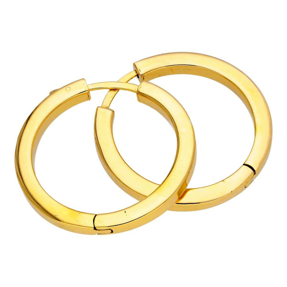 Gold Plated Sterling Silver Square Tube Push Button 30mm Hoop Earrings