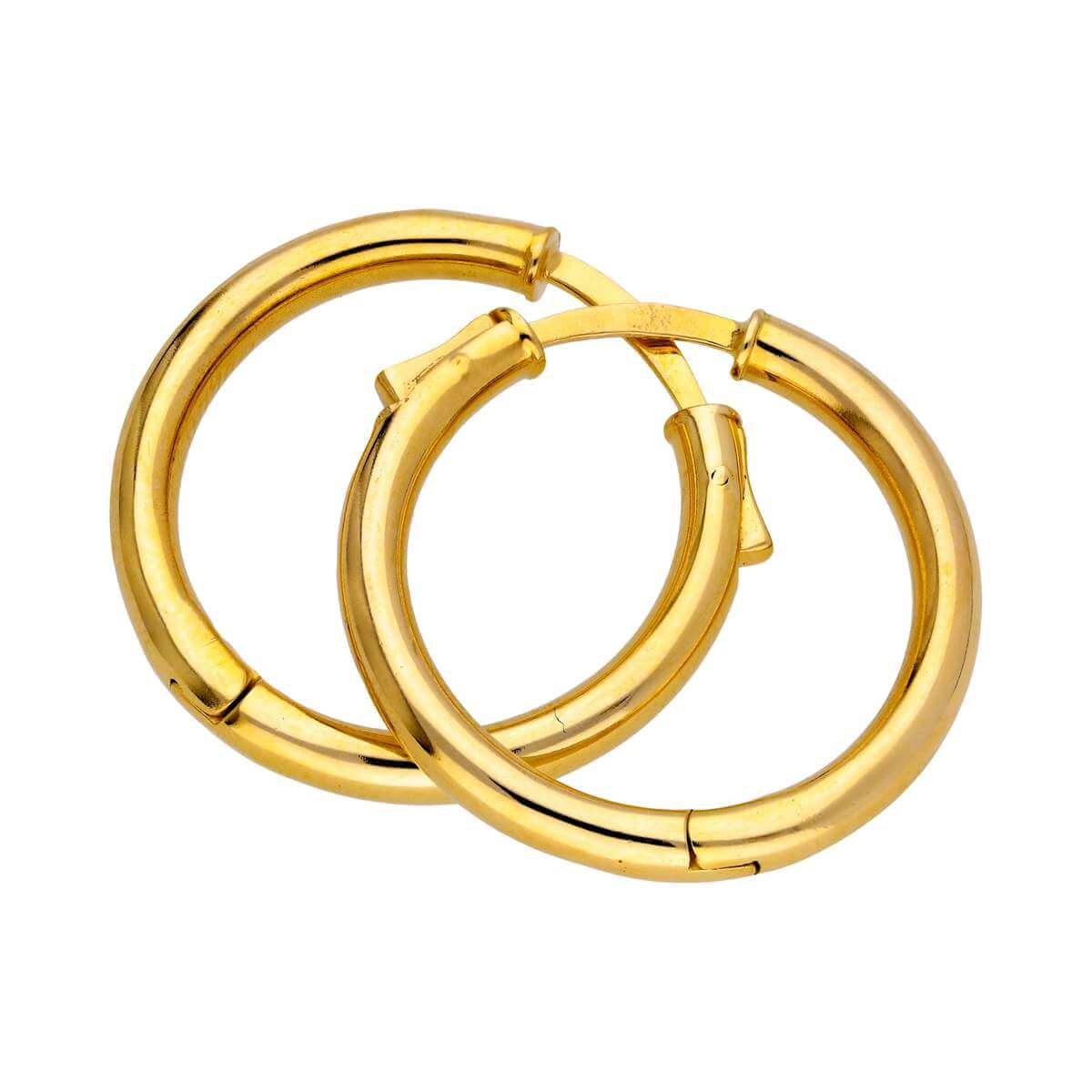 Gold Plated Sterling Silver Push Button 25mm Hoop Earrings