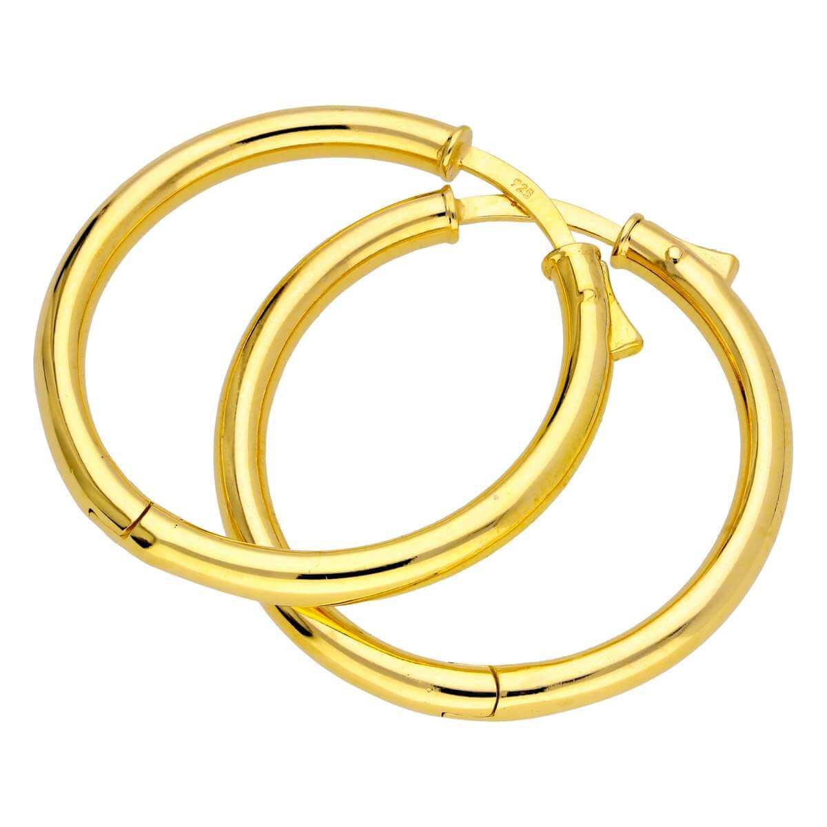 Gold Plated Sterling Silver Round Tube Push Button 30mm Hoop Earrings