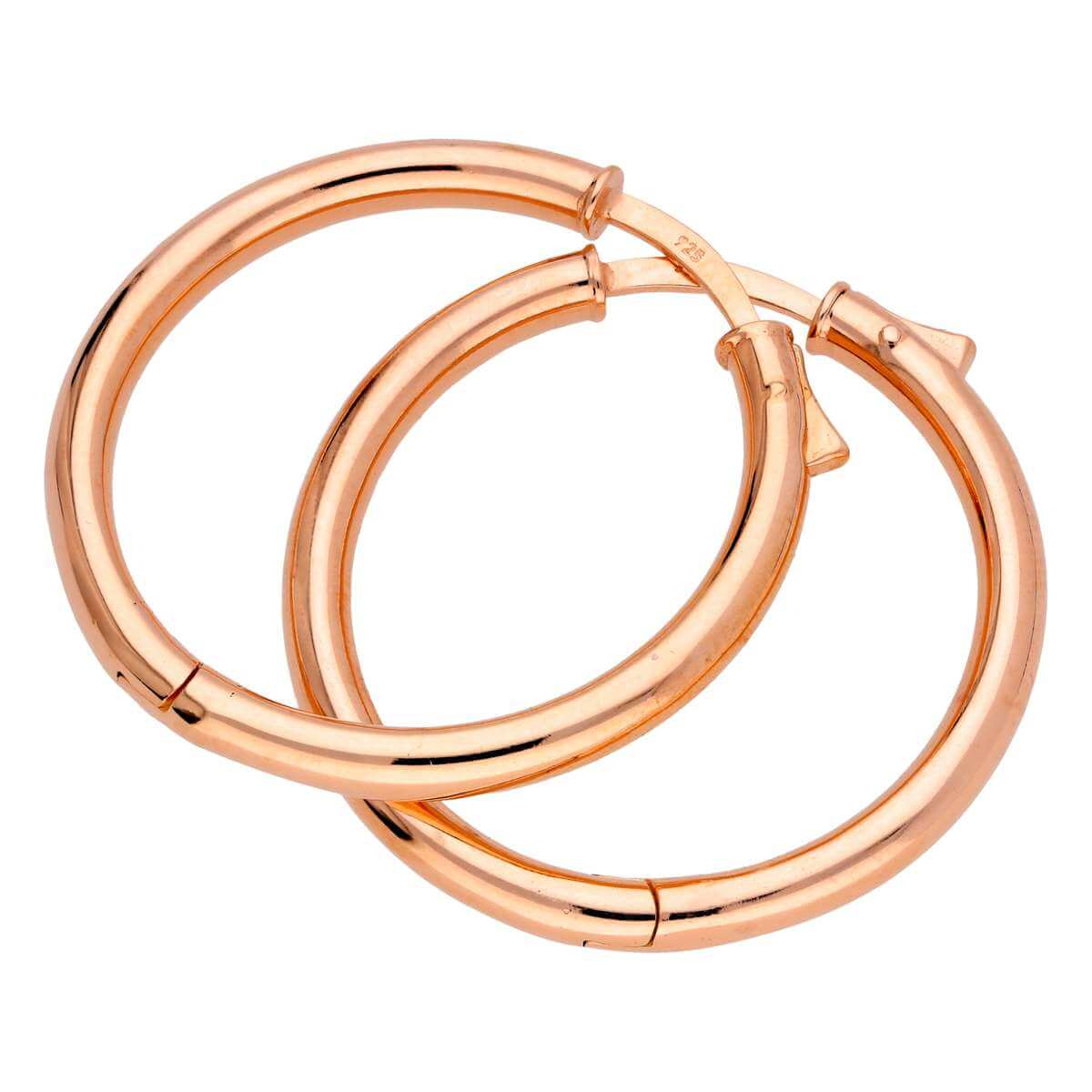 Rose Gold Plated Sterling Silver Push Button 30mm Hoop Earrings