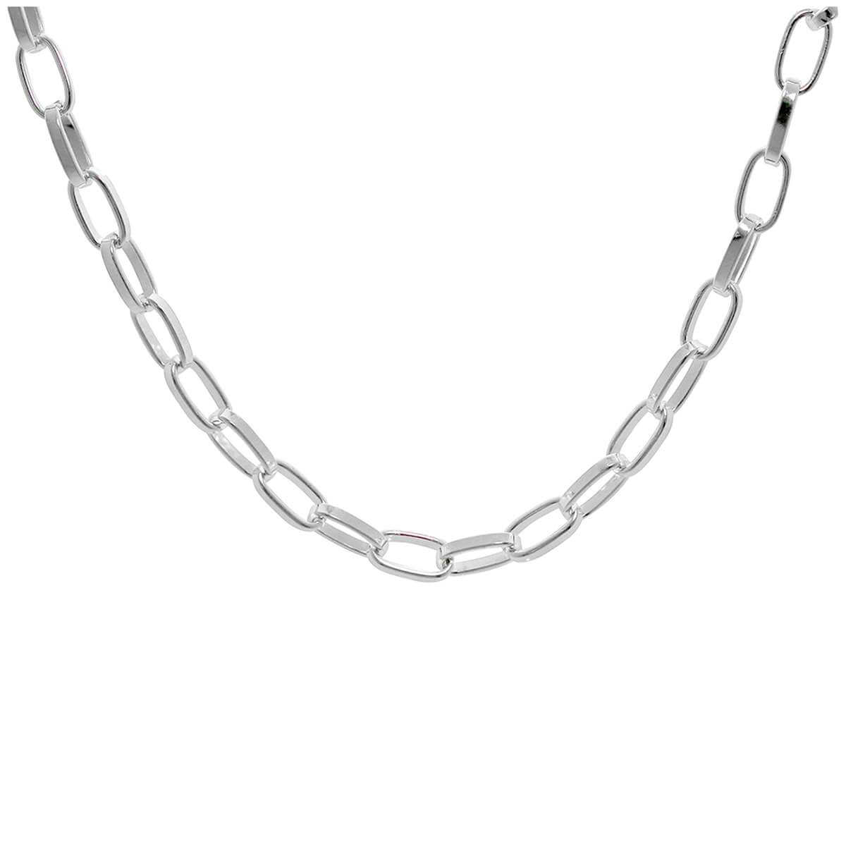 Sterling Silver Link Chain Adjustable Necklace 16 - 18 Inches