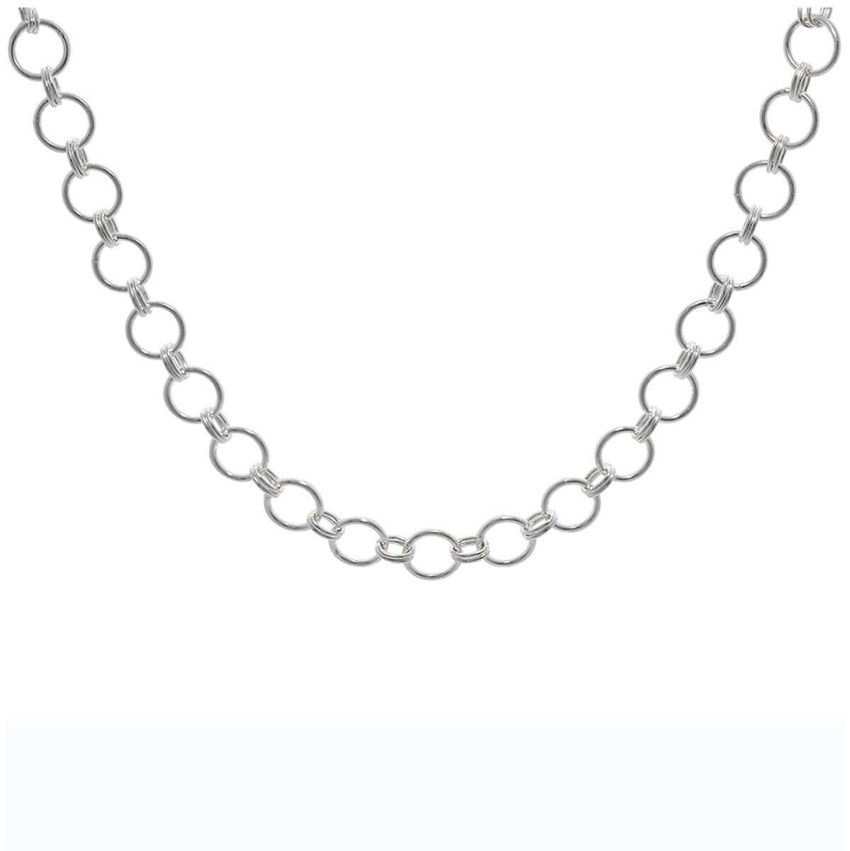 Sterling Silver Round Link Chain Adjustable Necklace 16-18 Inches