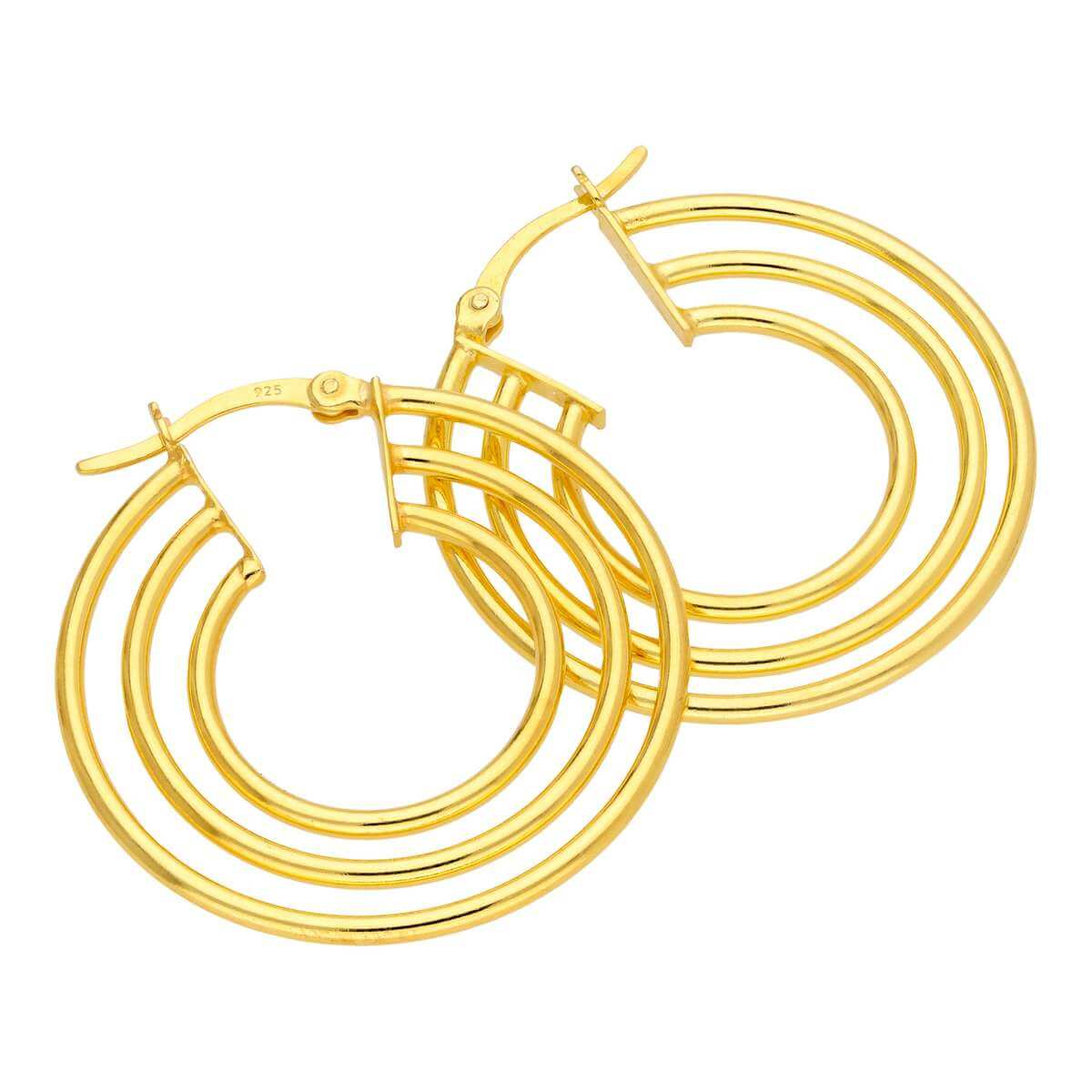 Gold Plated Sterling Silver Triple Line Circle Hoop Earrings